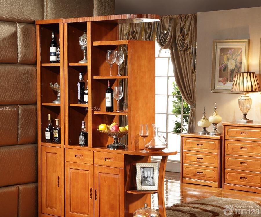 中式酒柜隔断设计效果图图片