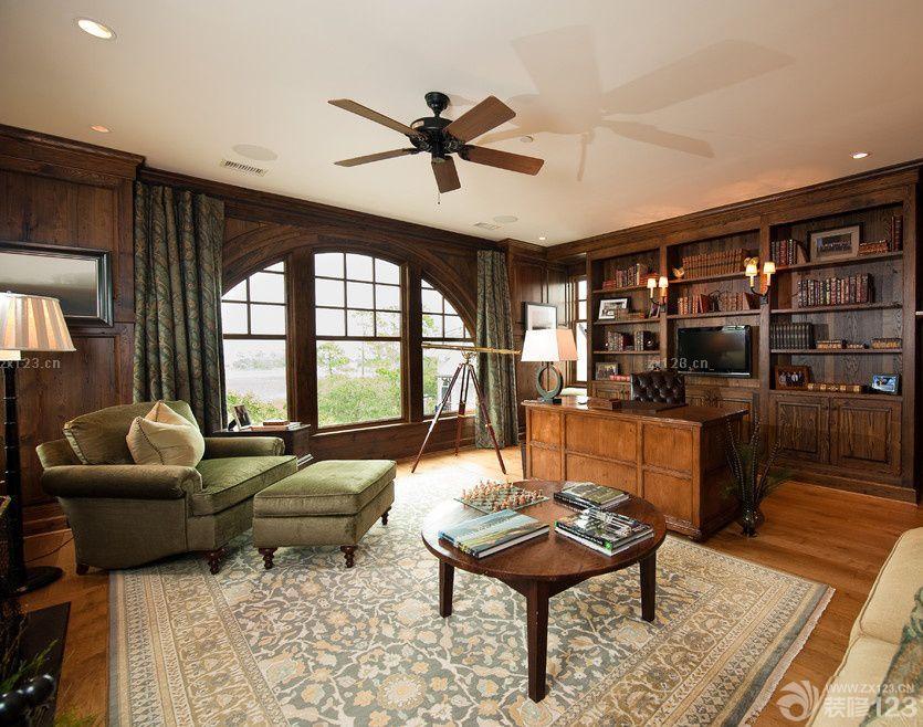 美式别墅书房沙发床摆放效果图