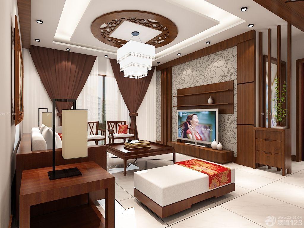 中式风格镂空吊顶装修效果图图片