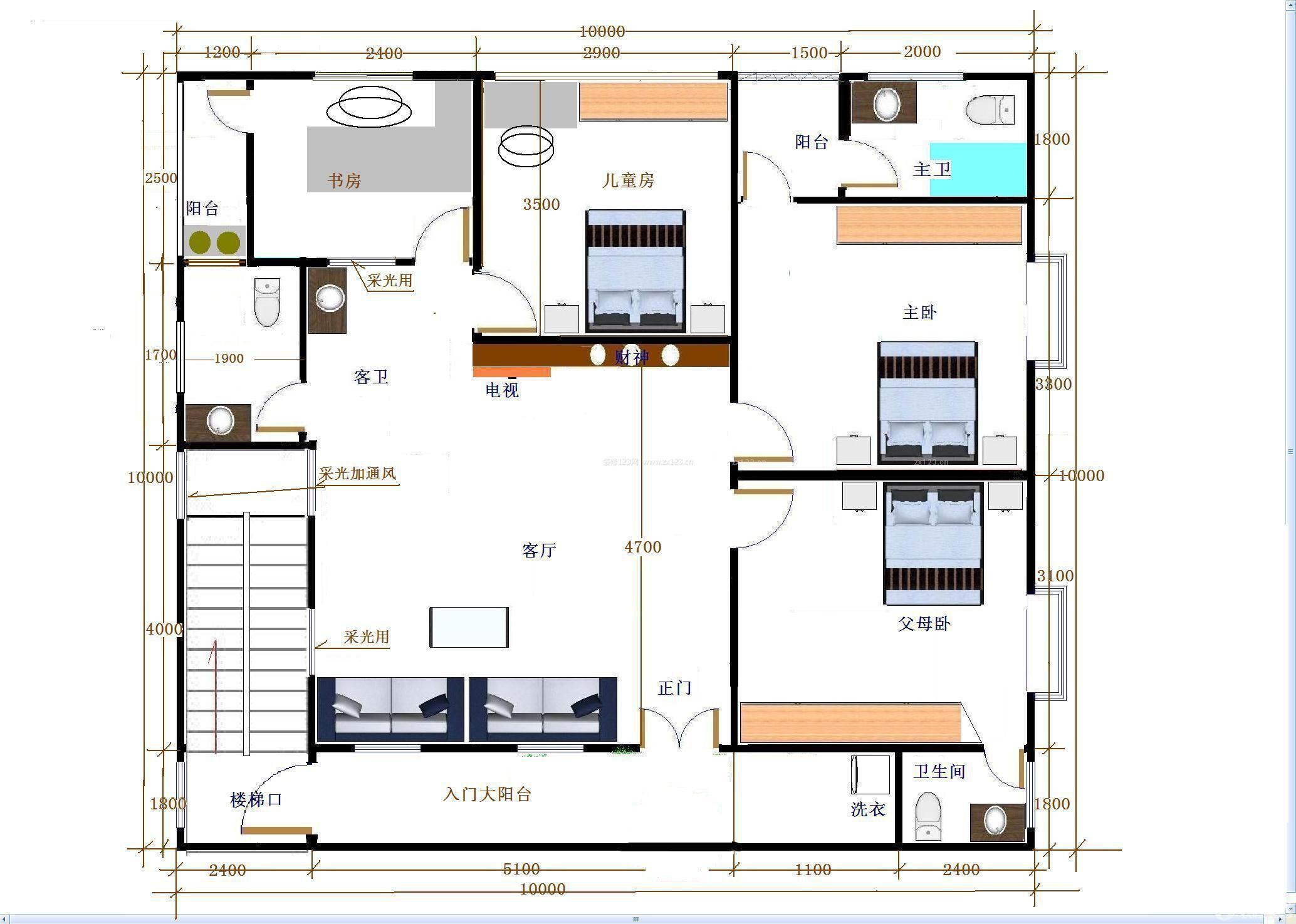 156平米房子农村自建房户型图大全