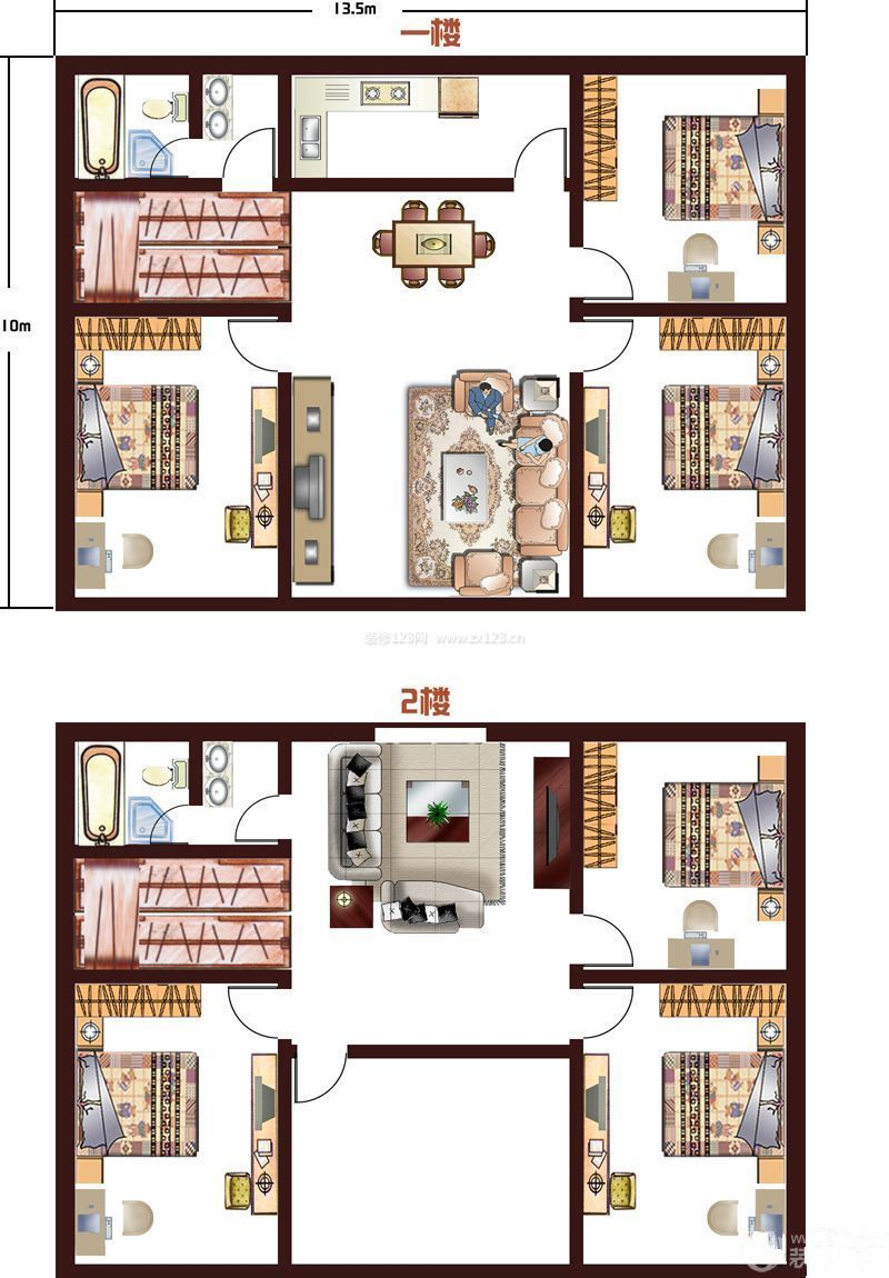 100平米自建房户型图_平面布置图