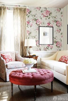 大花壁紙 家裝客廳