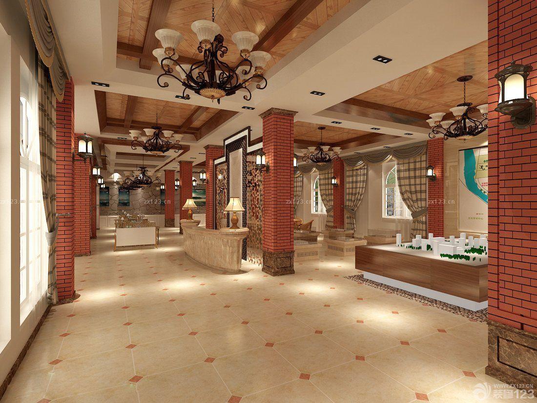 售楼部地面拼花地砖设计效果图