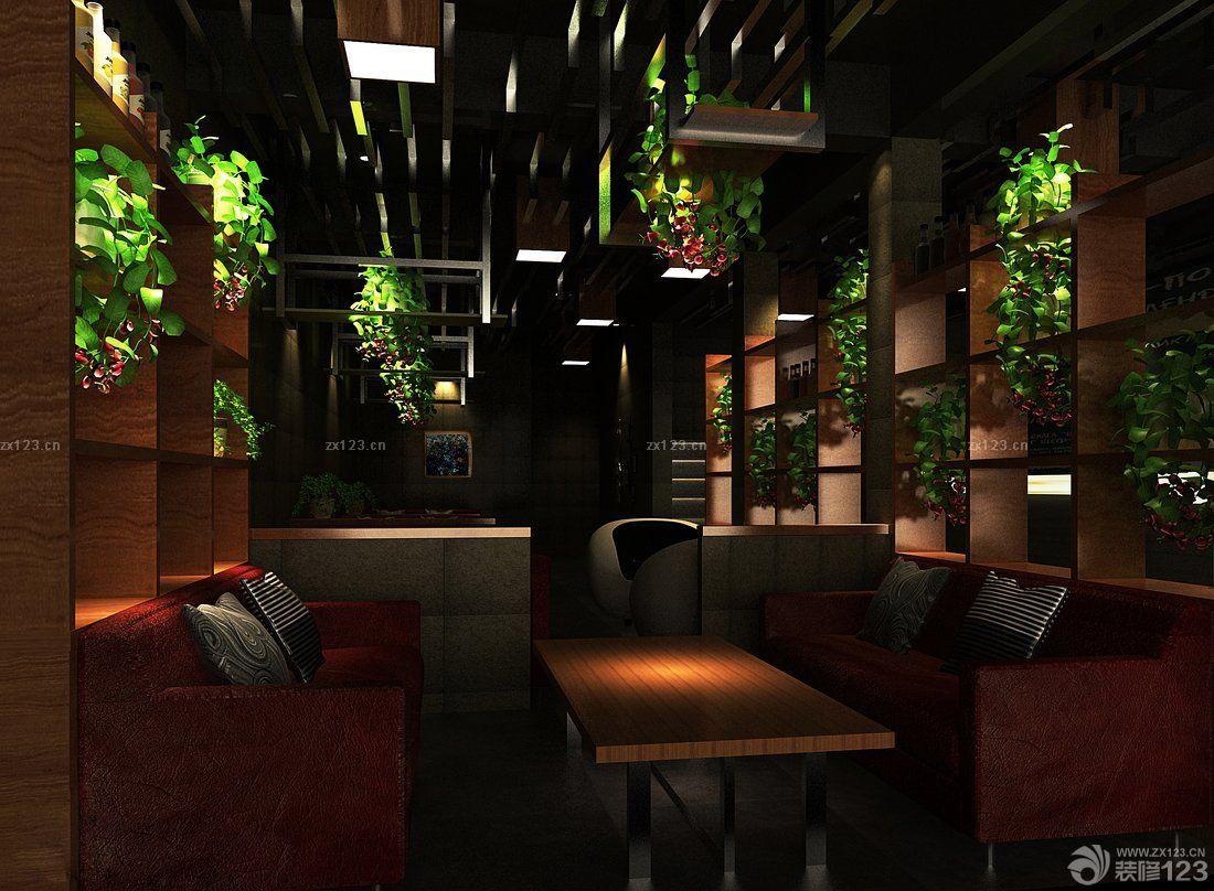 咖啡吧木质隔断设计效果图_装修123效果图