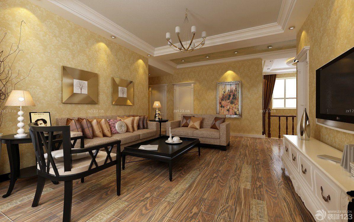 客厅木纹仿古瓷砖装修效果图