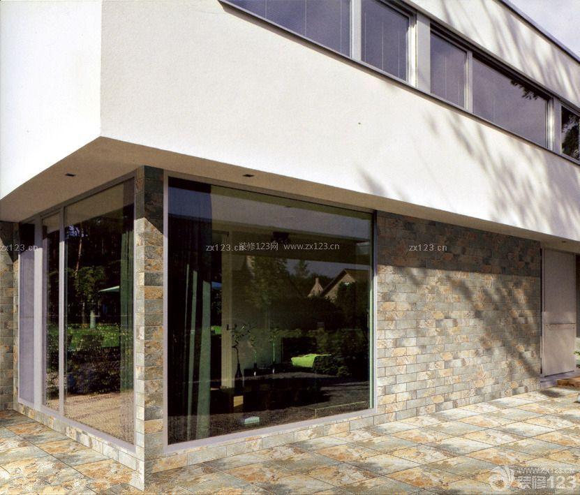 500平米落地窗别墅外墙砖贴图效果图