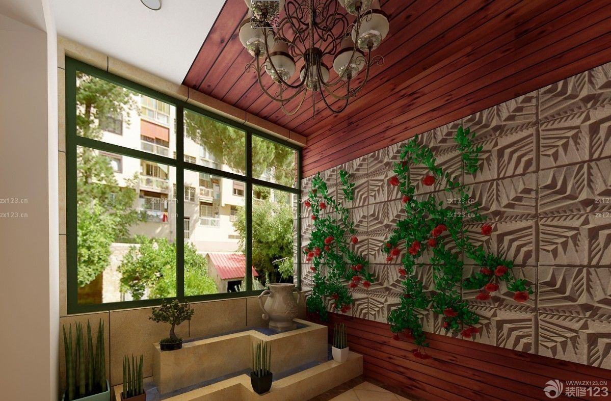 室内入户花园防腐木装修效果图
