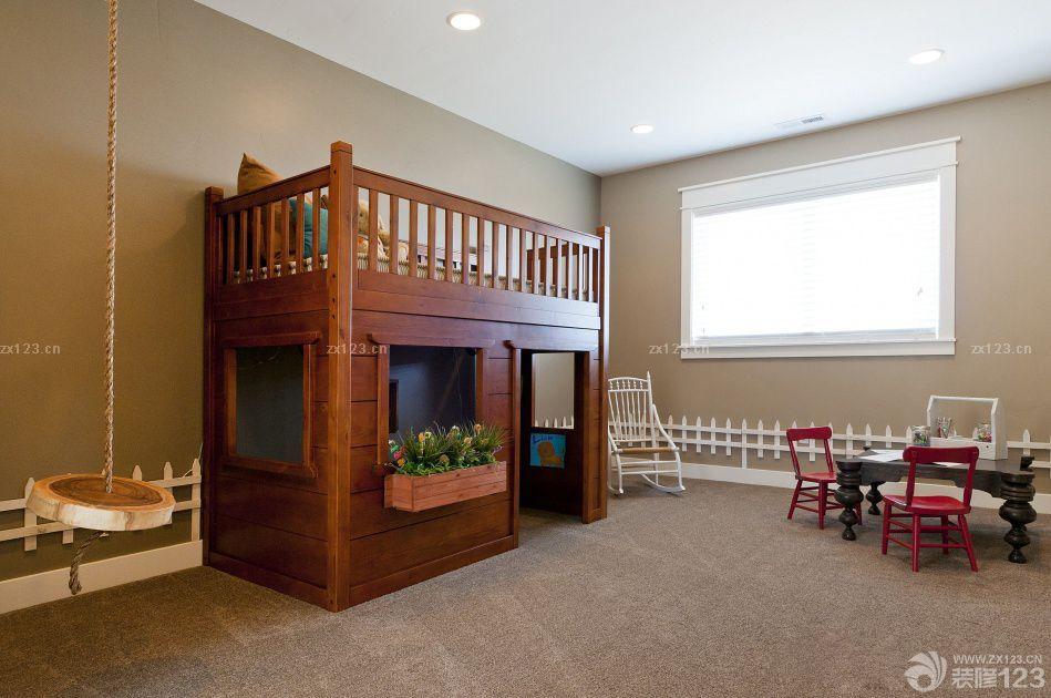 中式风格卧室实木高低床装修案例