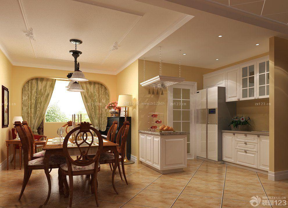 欧式风格小户型厨房客厅隔断设计图_装修123效果图