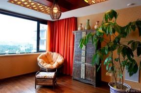 复式公寓装修效果图 红色窗帘
