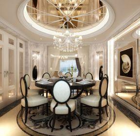 欧式风格餐厅圆形玻璃吊顶设计图-每日推荐