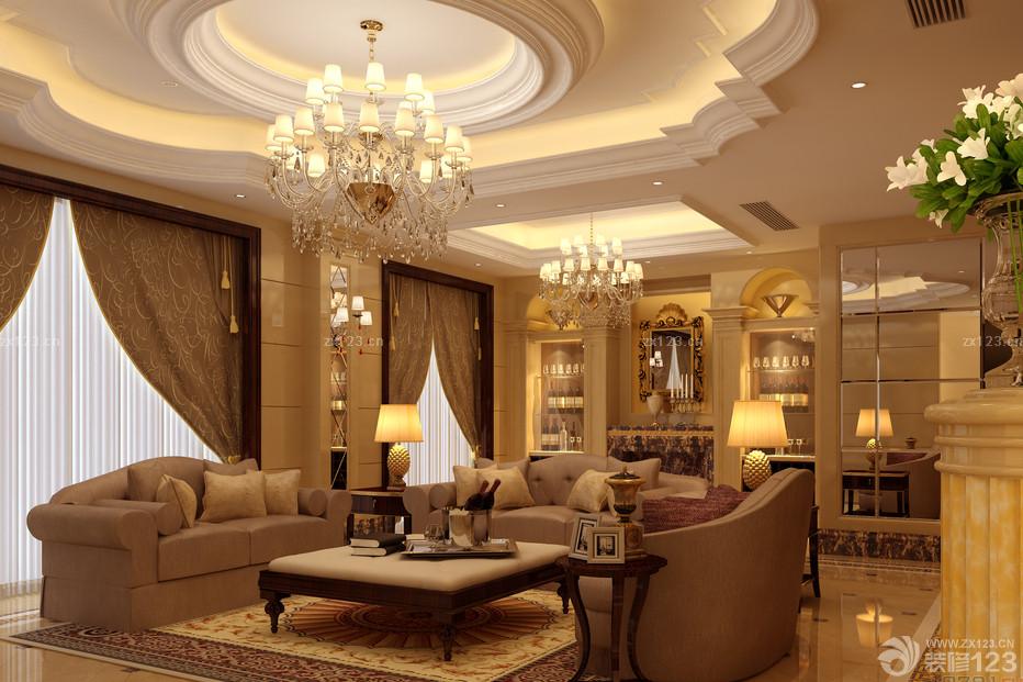 欧式风格大客厅石膏线条设计图