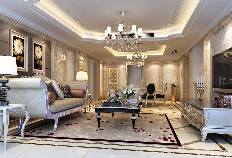 客厅天花板石膏线条设计图_装修123效果图