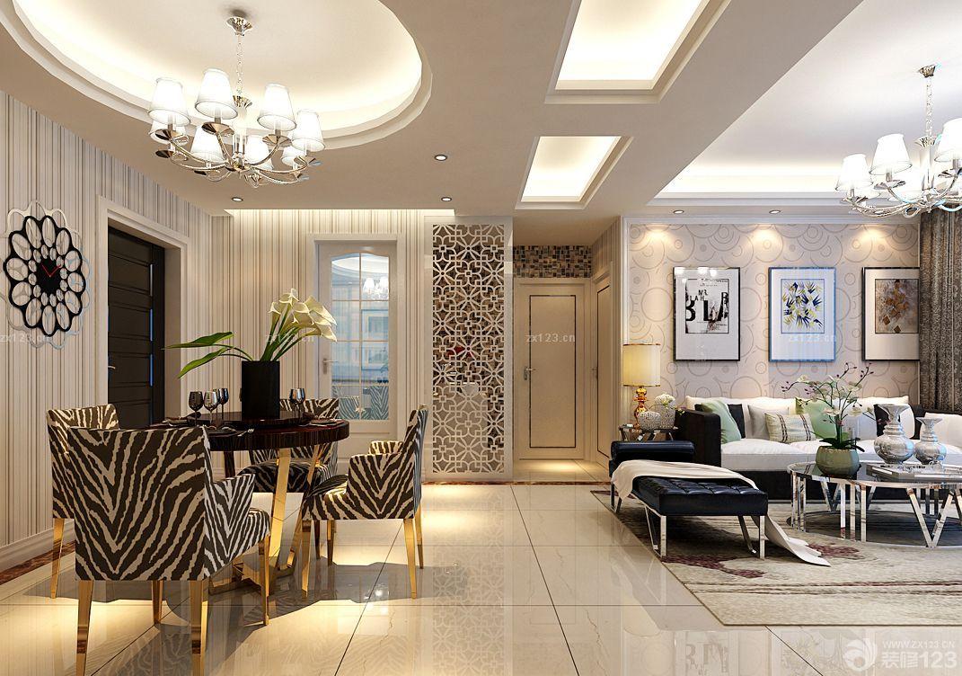 家装客厅石膏线条吊顶设计图