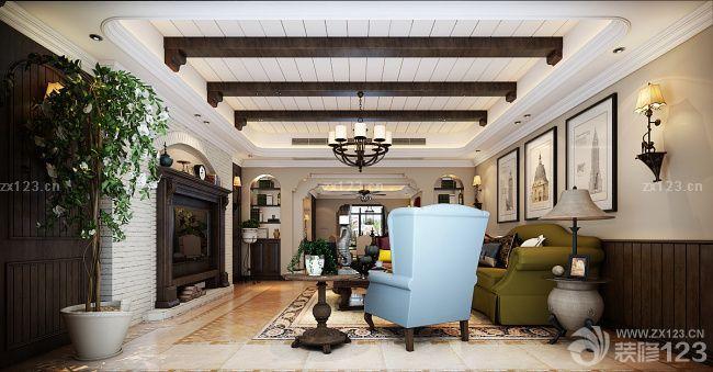 美式现代客厅木质吊顶设计图