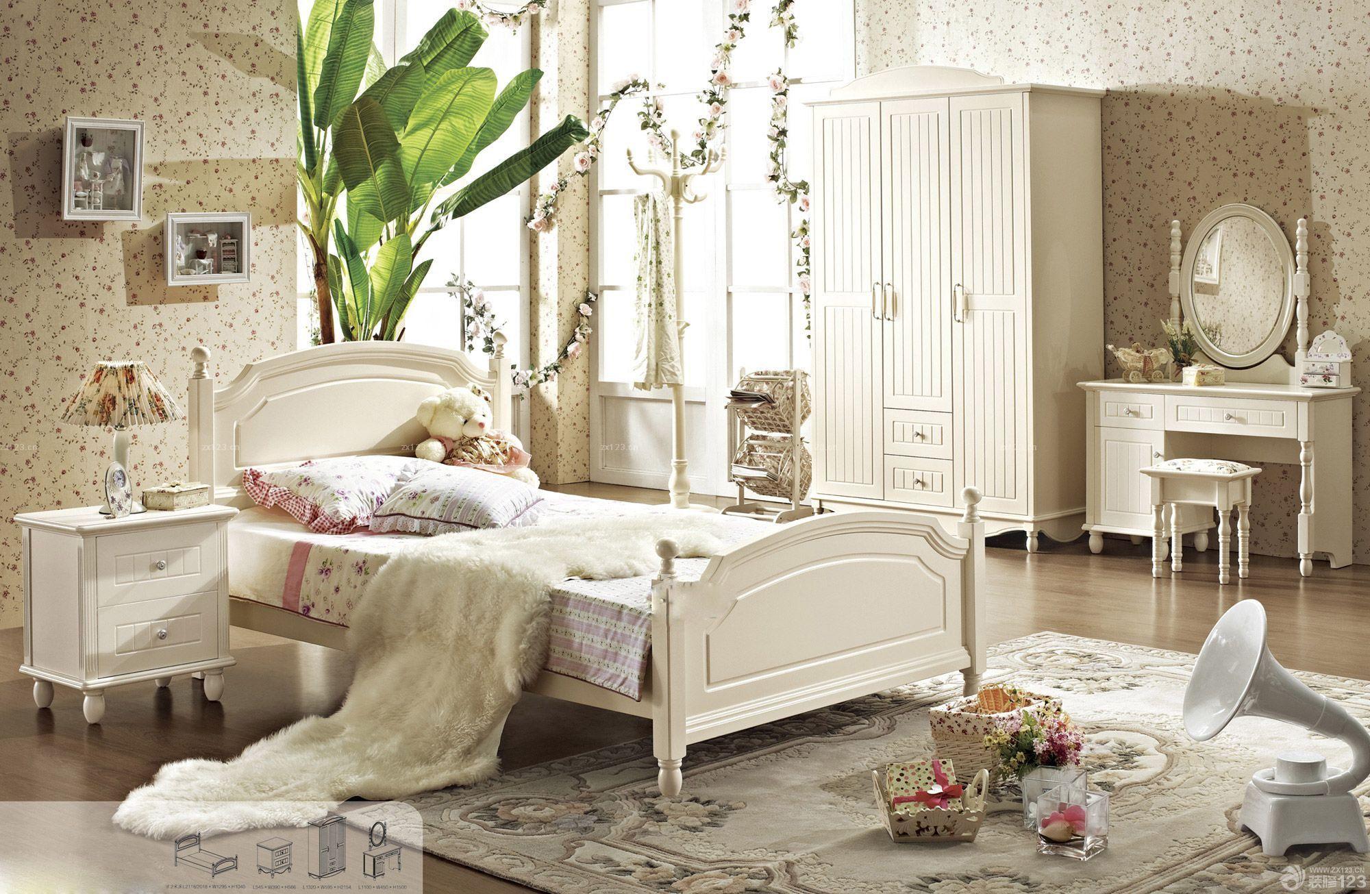 欧式卧室白色梳妆台图片
