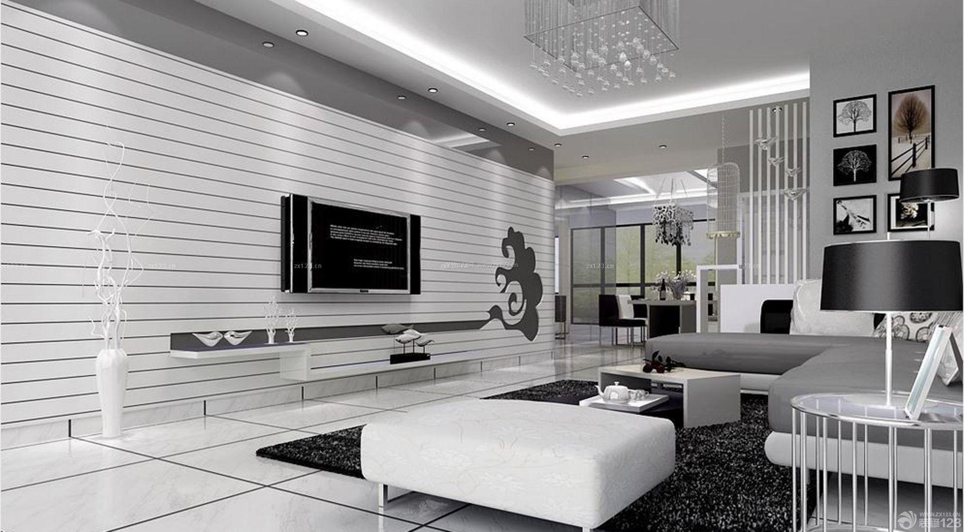 黑白家装电视背景墙效果图