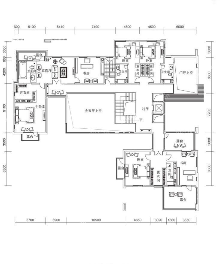 60平米小户型平面图一室一厅可改两室设计样板_装修