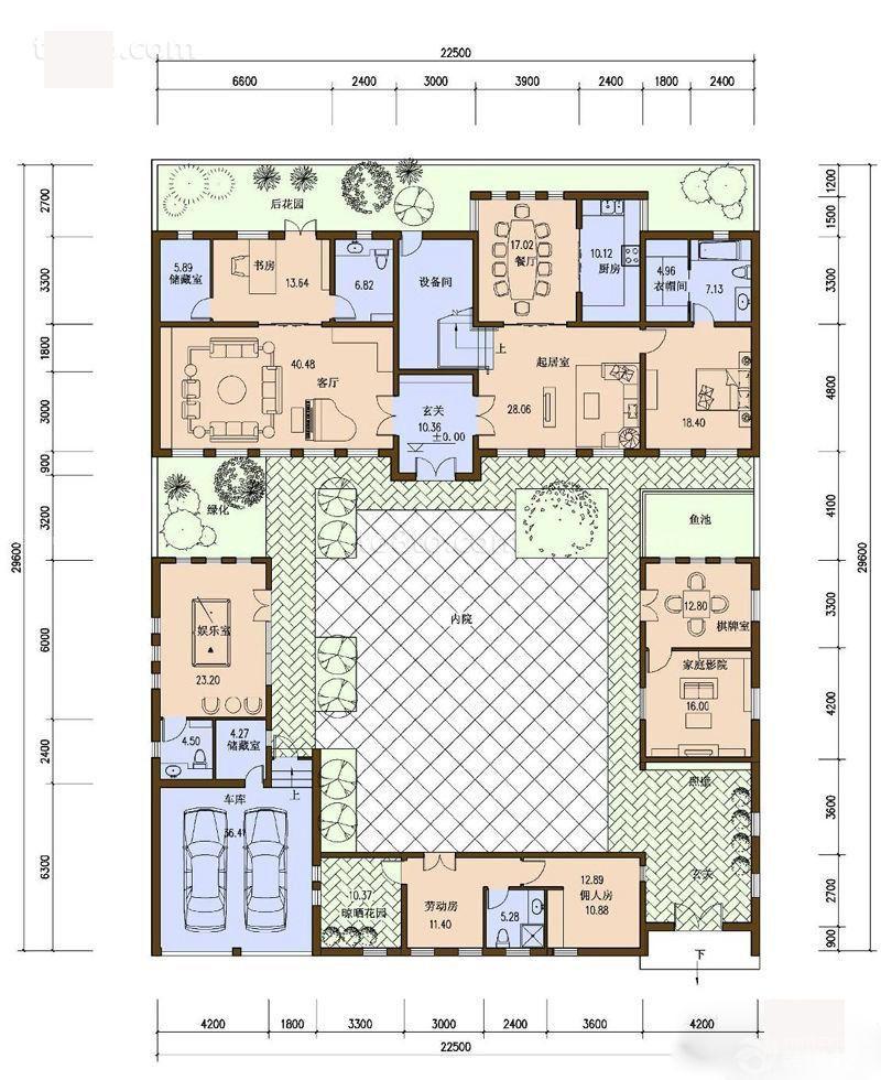 设计图/内部房型平面图/别墅房型130/一层别墅户型图/自建别墅房型图片
