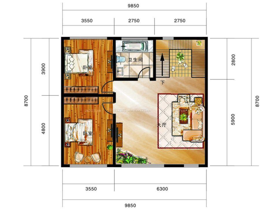 农村二室一厅户型图自建房设计