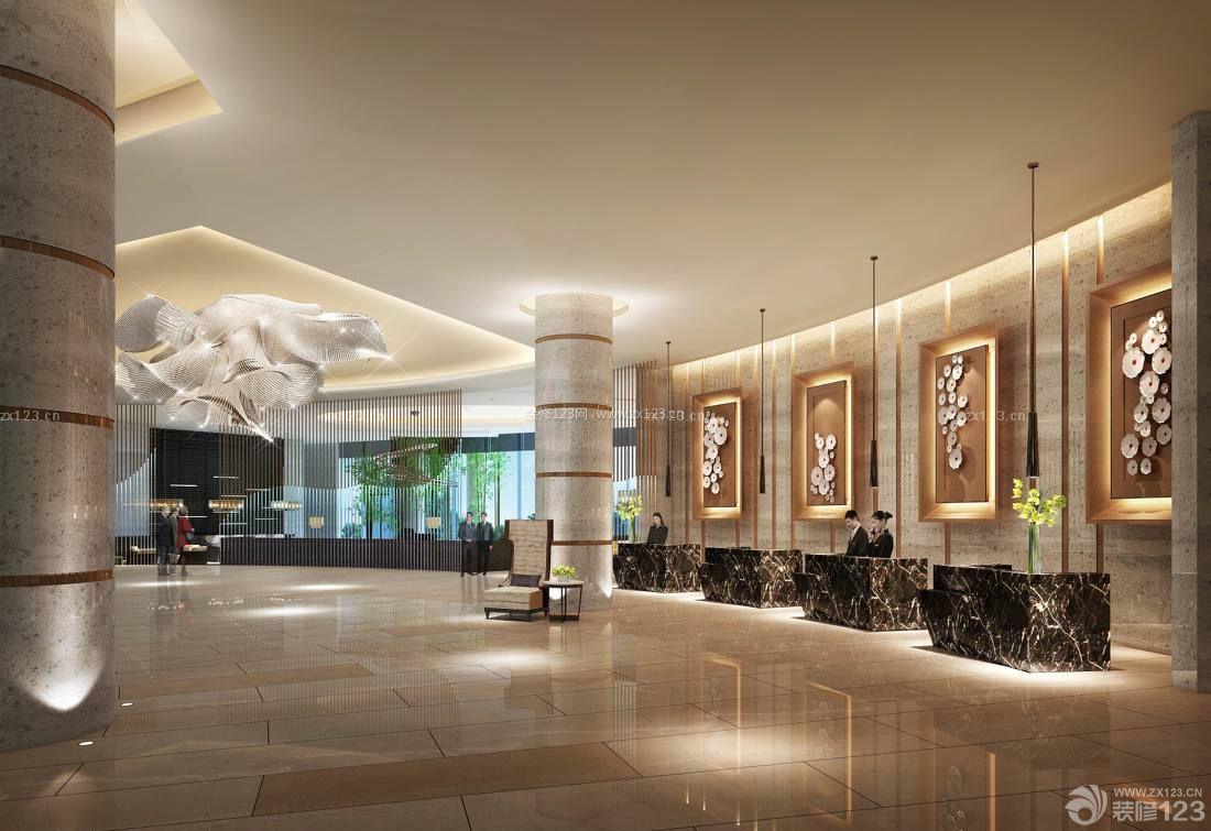 豪华酒店大厅背景墙设计图片欣赏_装修123效果图