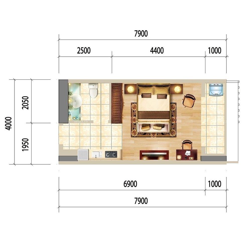 单身公寓长方形户型图大全