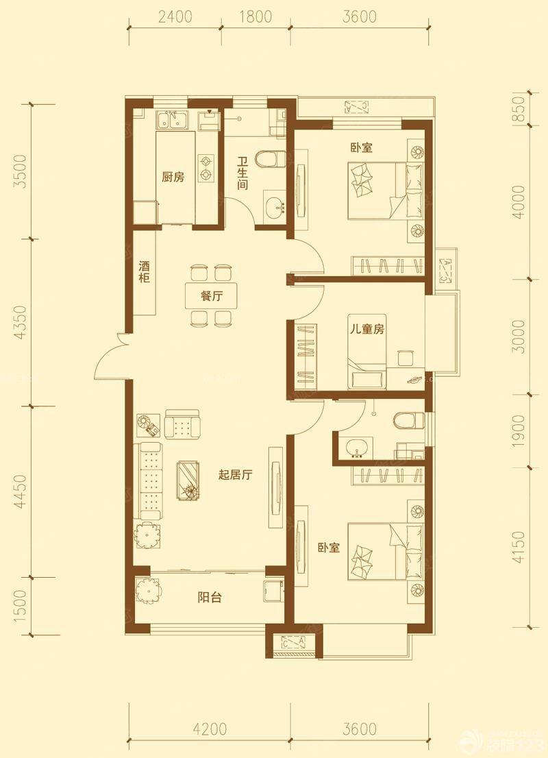 三室两厅长方形户型图大全