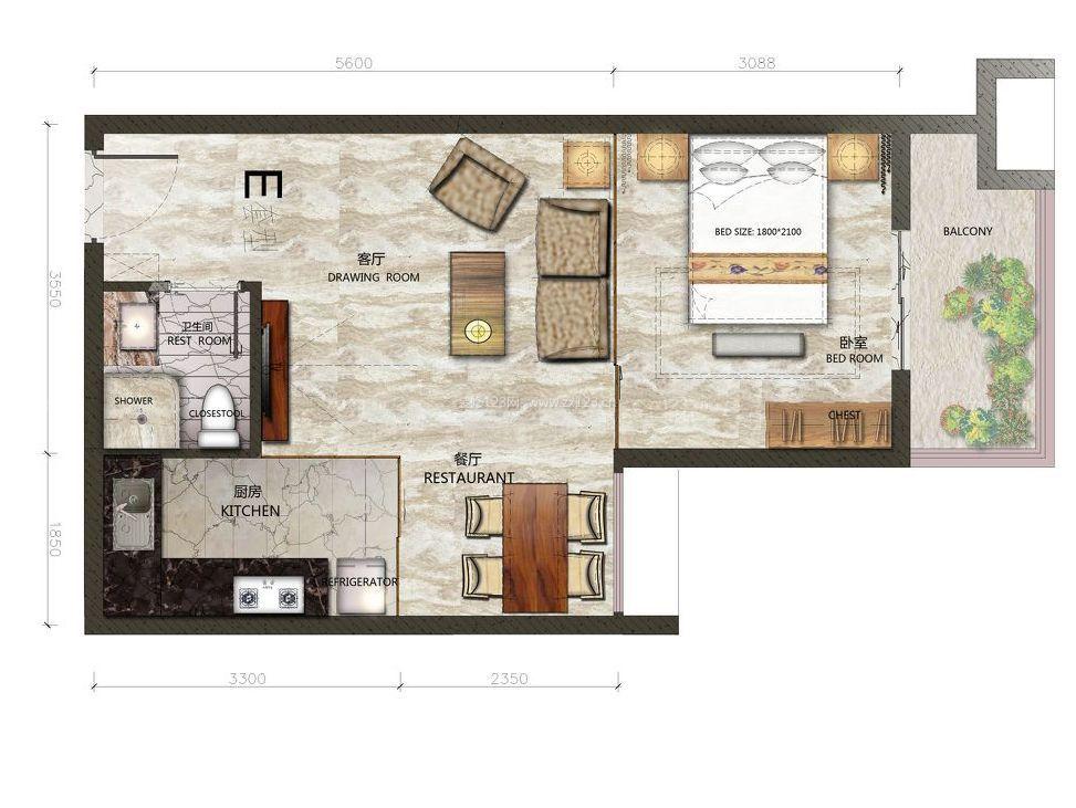 80平米单身公寓平面设计图片