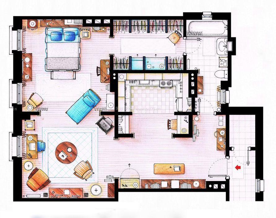 两室一厅单身公寓平面图片