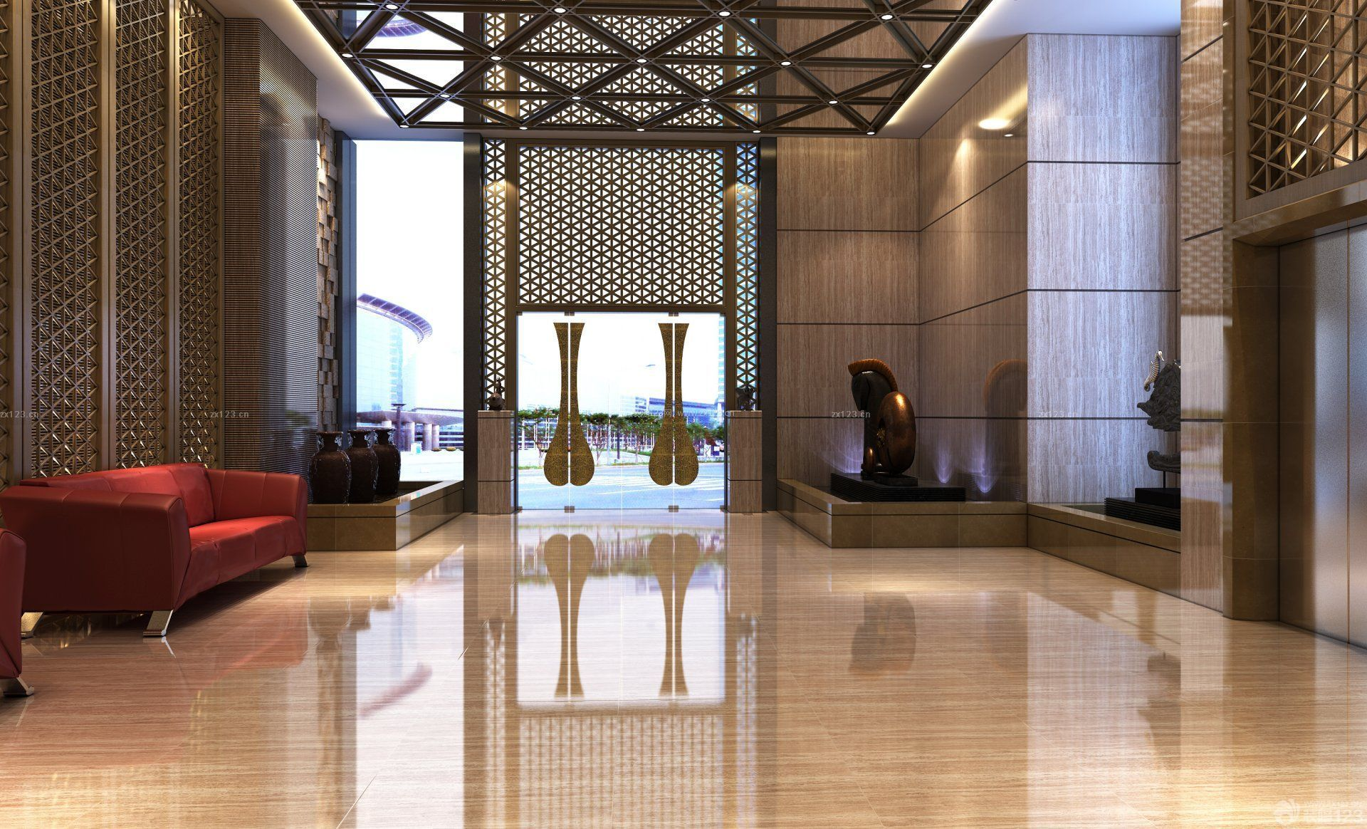 酒店公寓大厅背景墙设计效果图片_装修123效果图