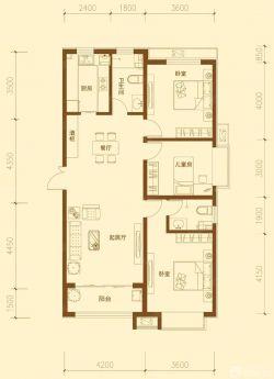 精致三房两厅长方形户型图大全
