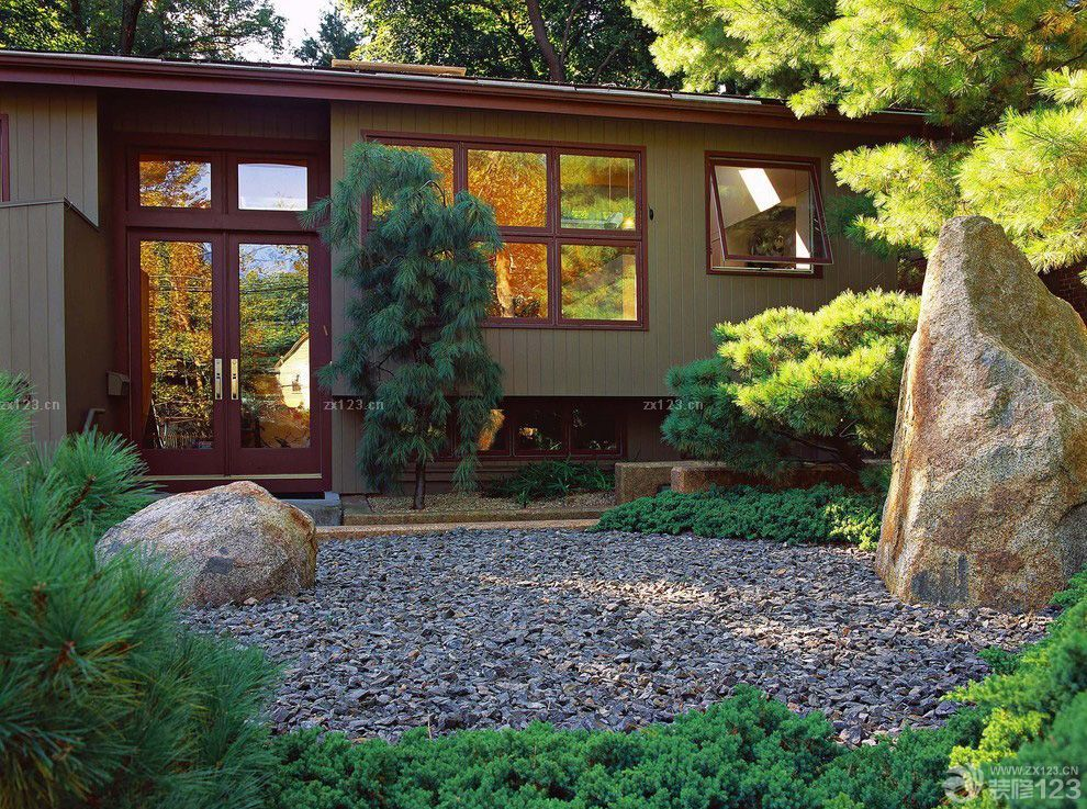中式田园风格一层别墅外观图