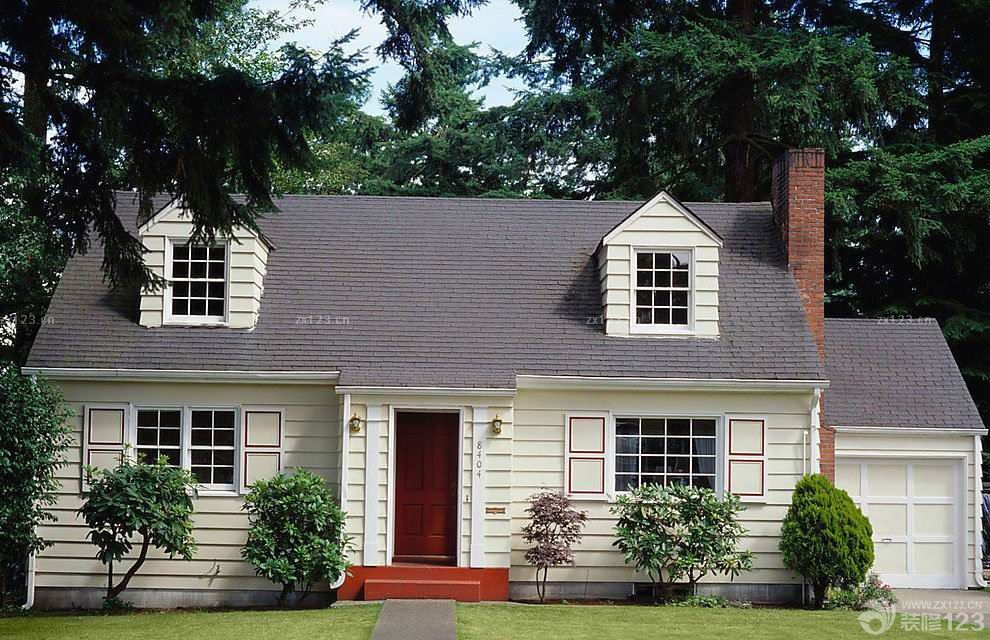 美式风格一层别墅外观装修效果图片