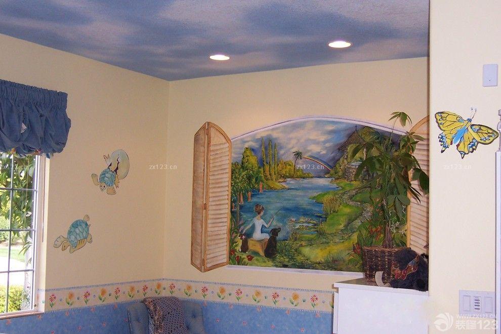 儿童房手绘墙画装修样板