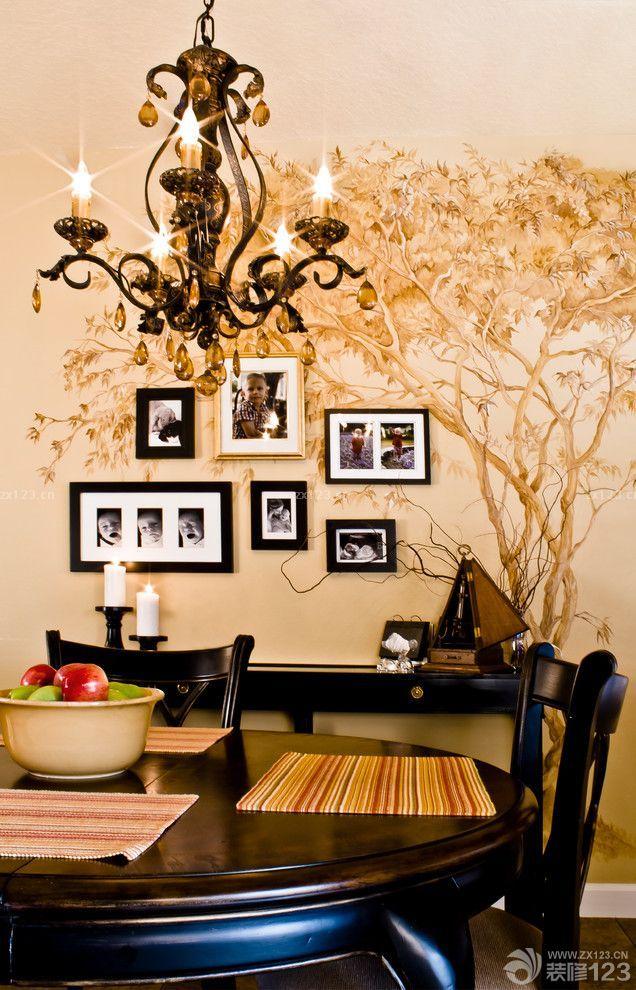 家庭餐厅手绘墙画效果图片