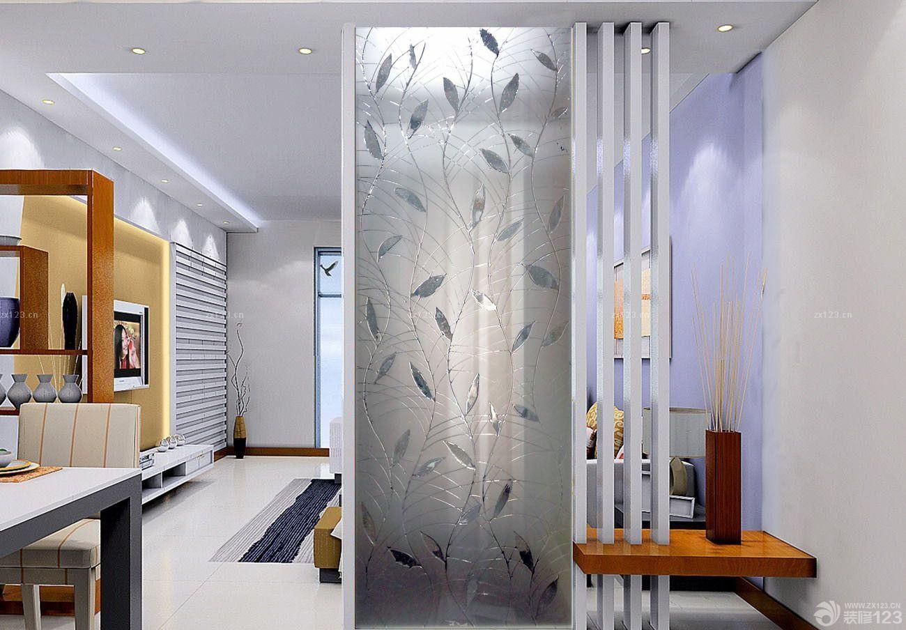 现代客厅玻璃屏风隔断设计图