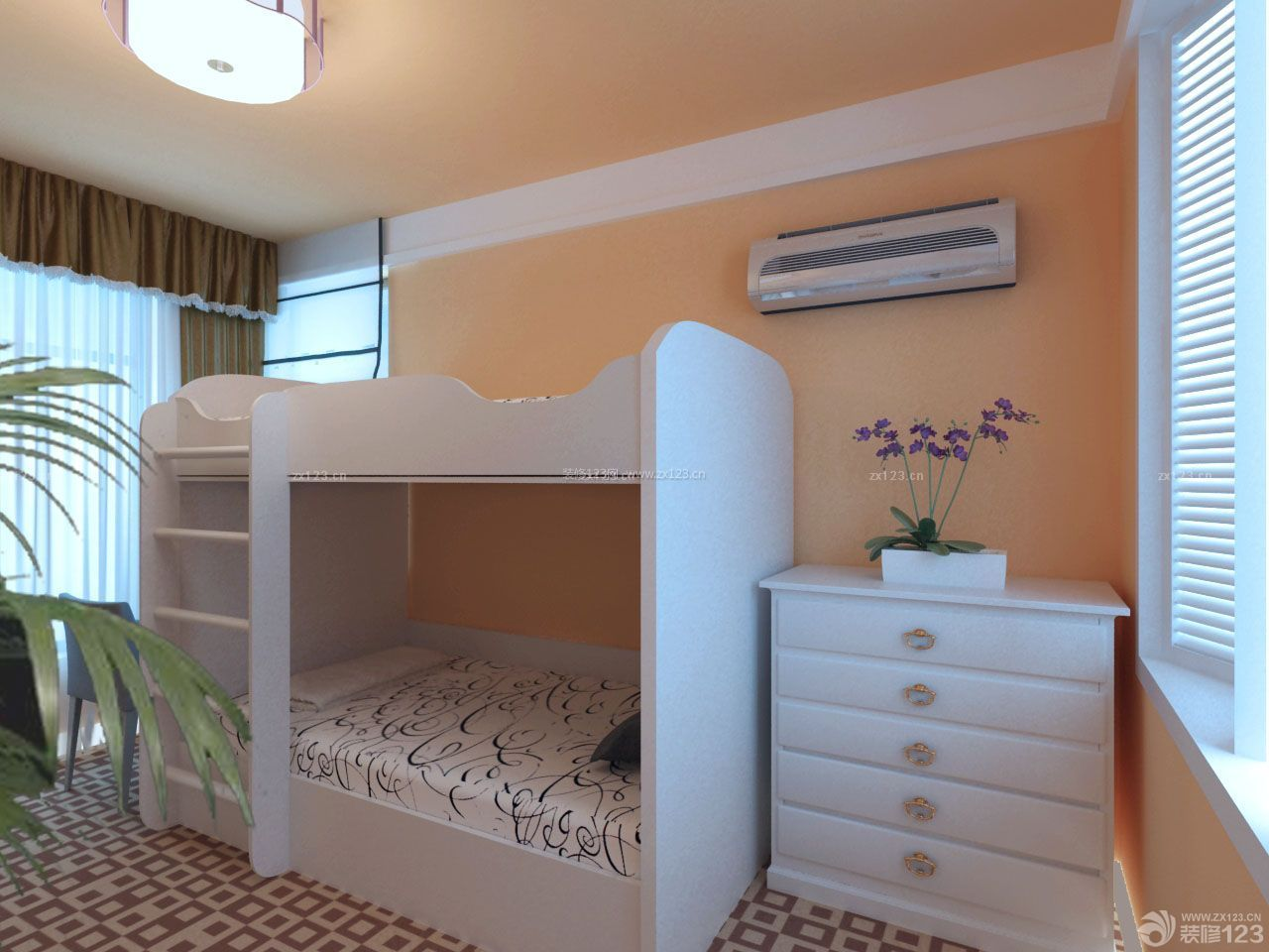 超小卧室白色高低床设计图