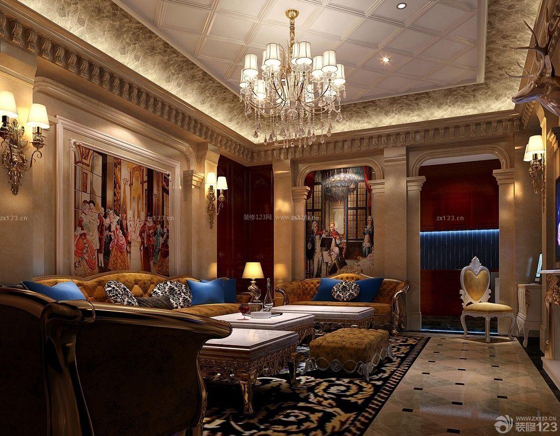 经典哥特式风格房屋客厅设计图_装修123效果图