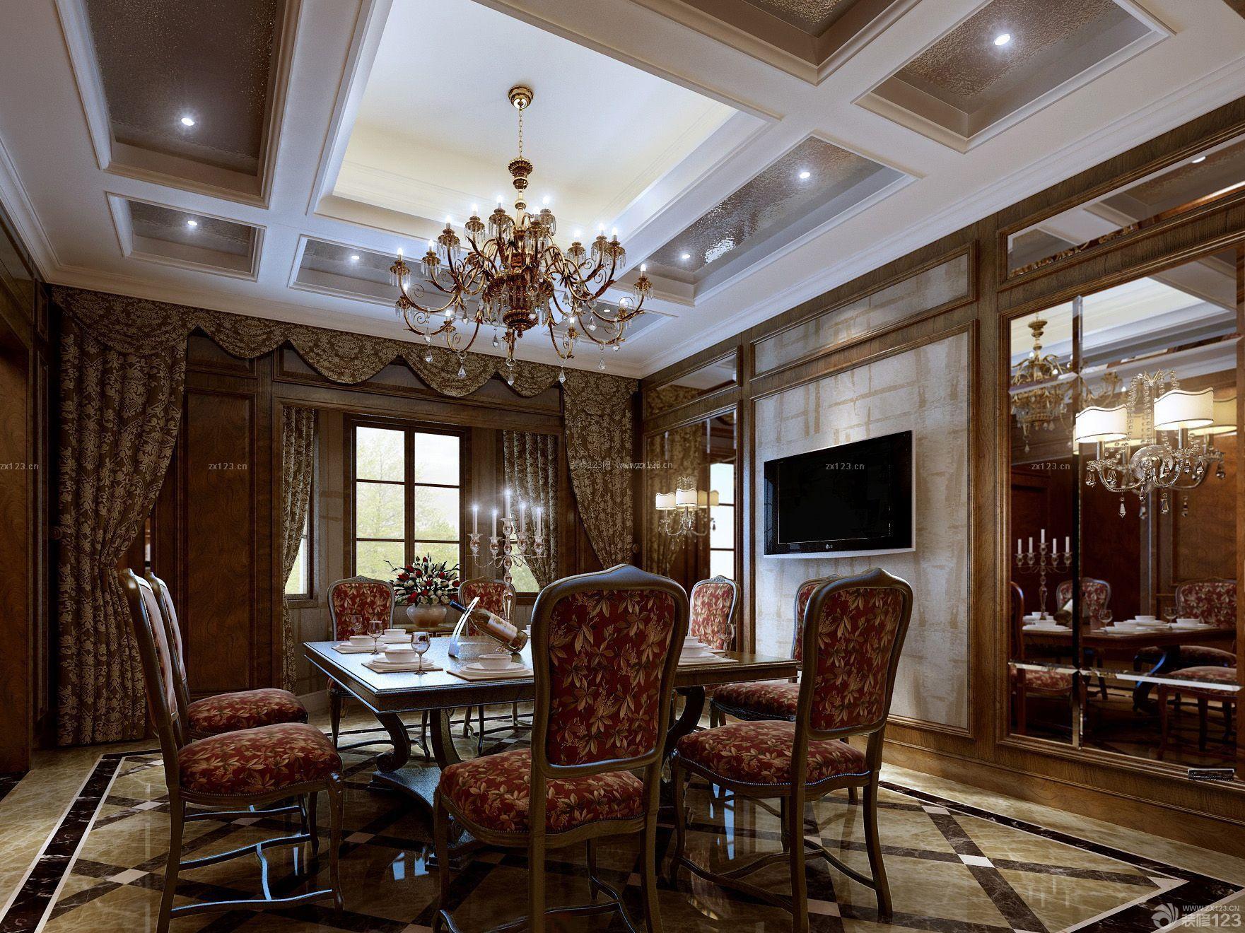 哥特式风格别墅家装餐厅设计图