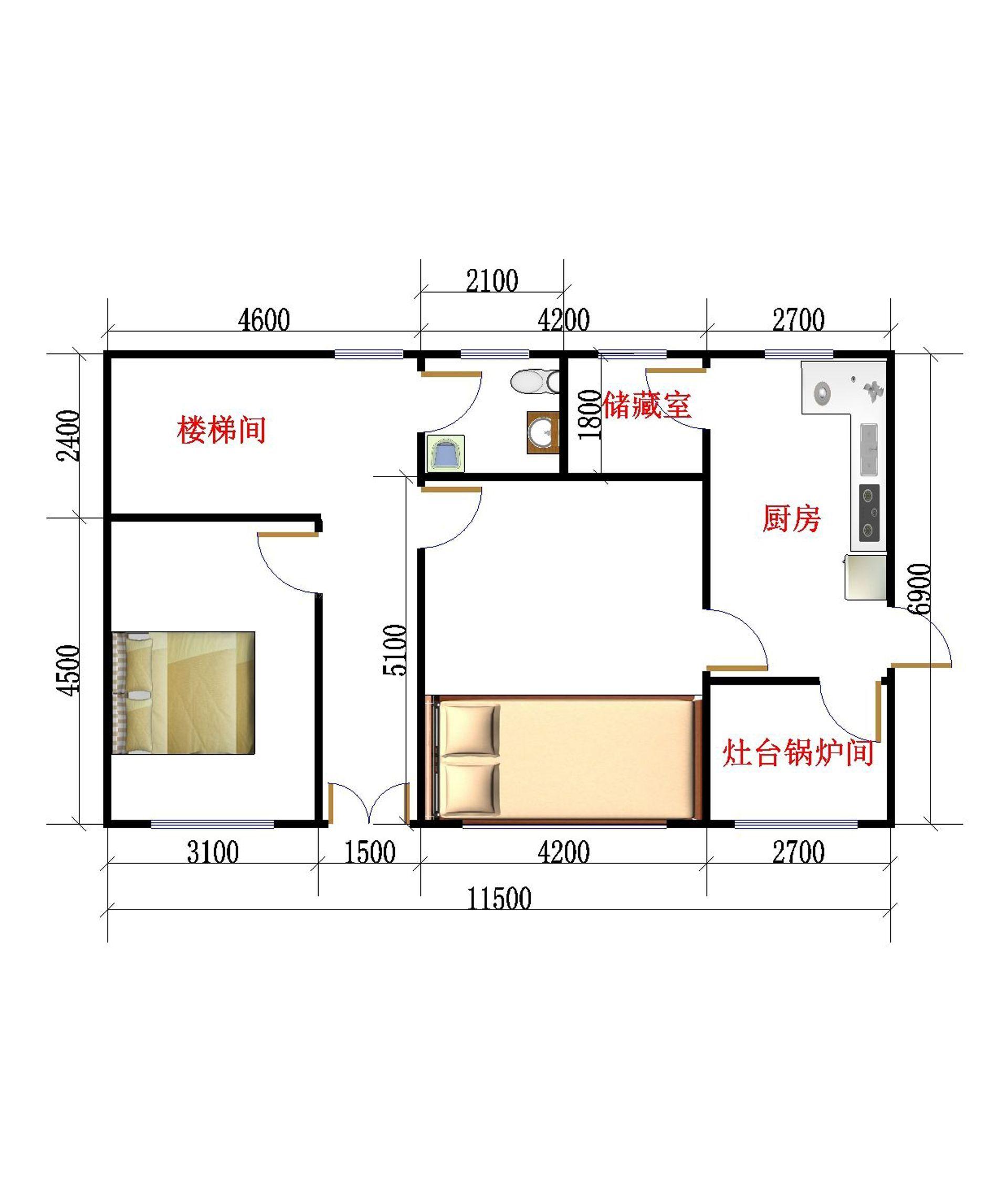 北方农村房屋一层平面图