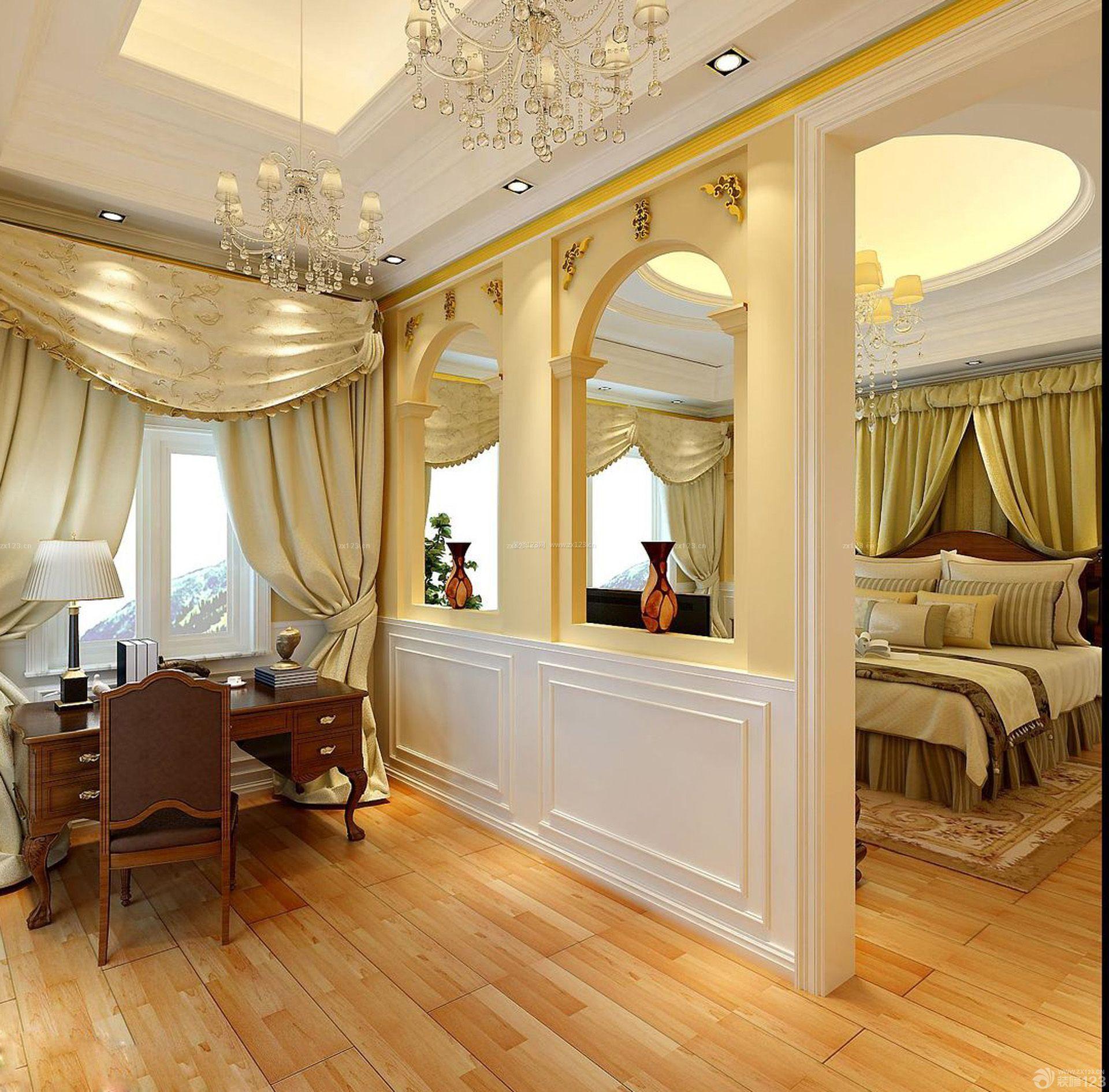 别墅卧室隔墙设计图_装修123效果图
