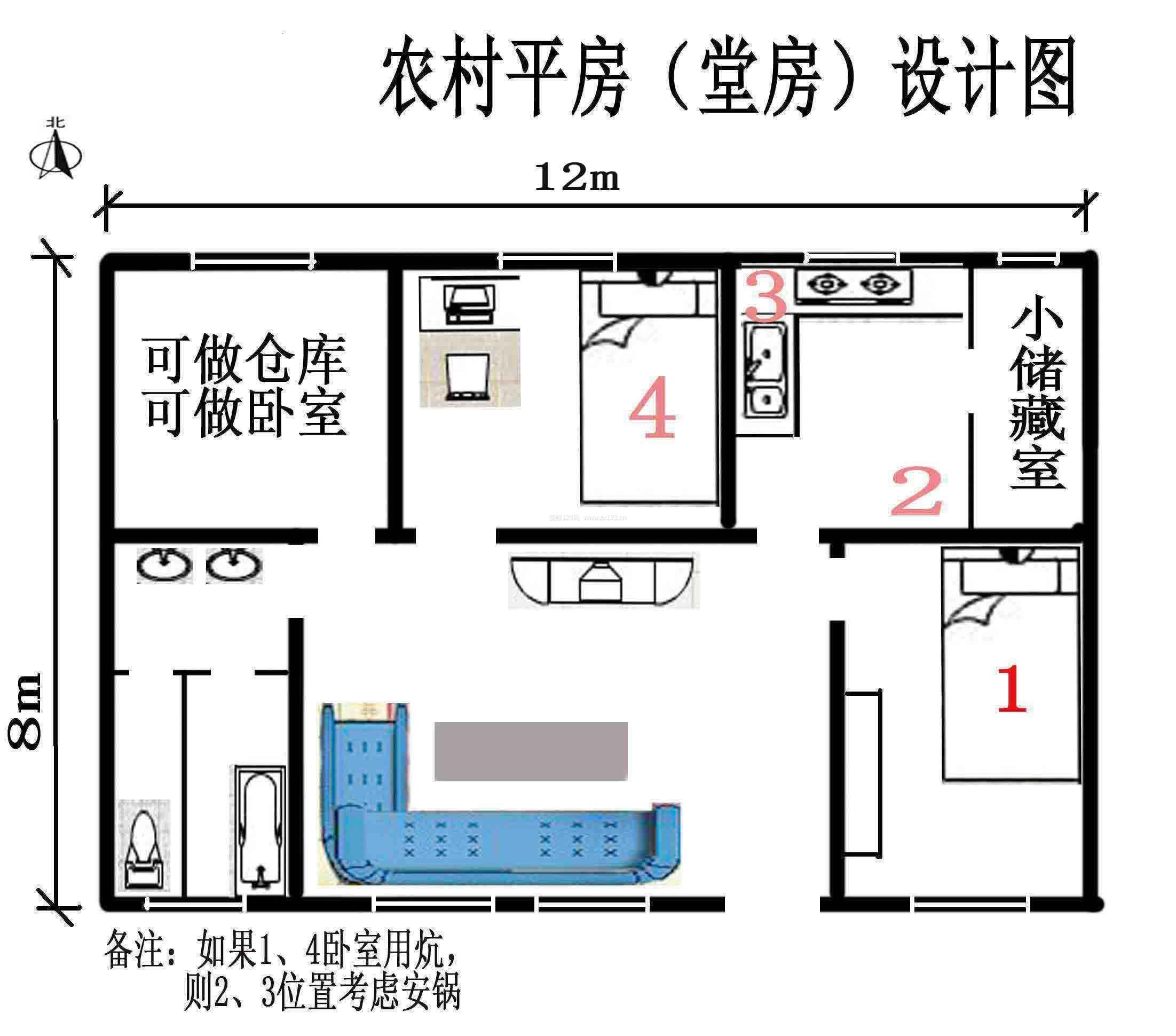 北方农村房屋平房设计图