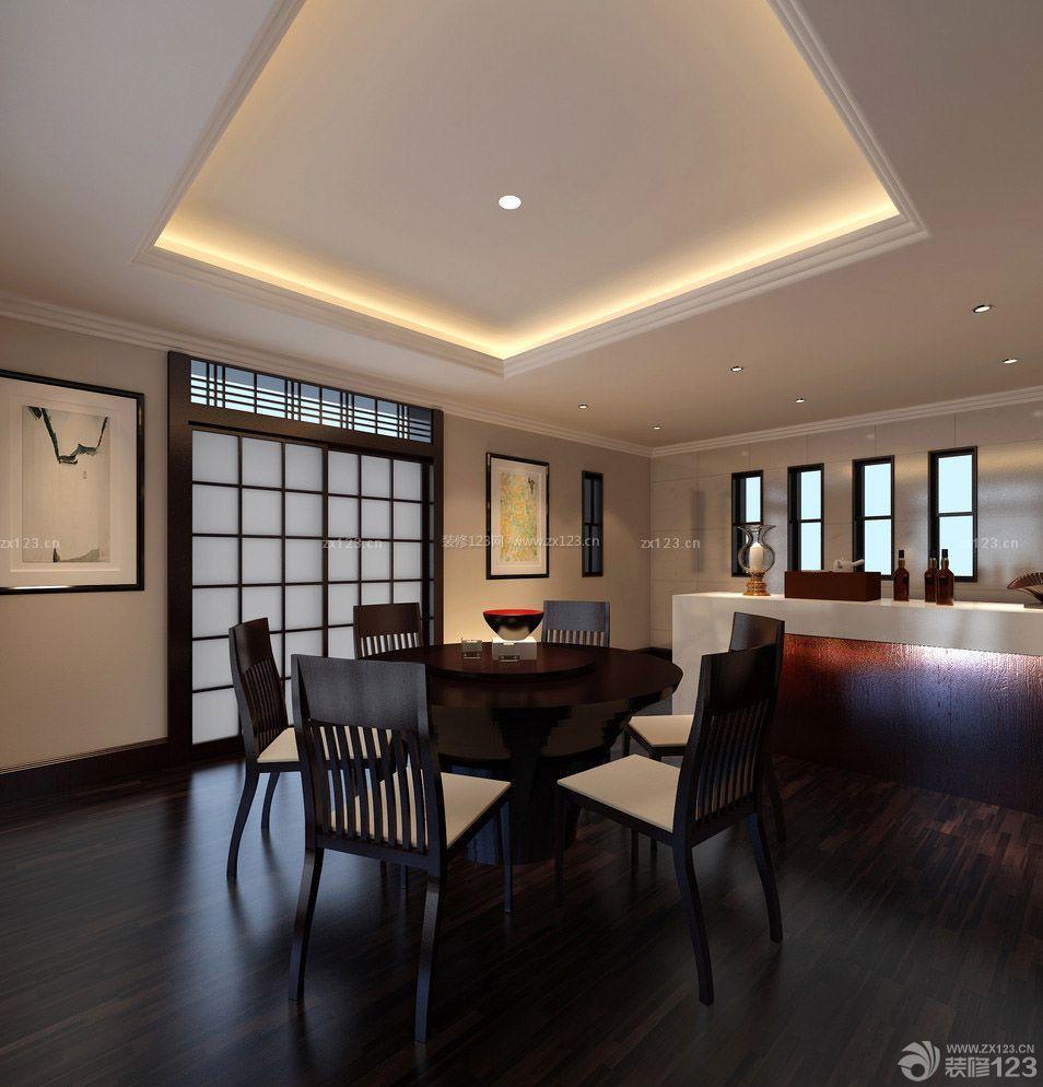 新中式风格客厅黑色木地板装修案例图片