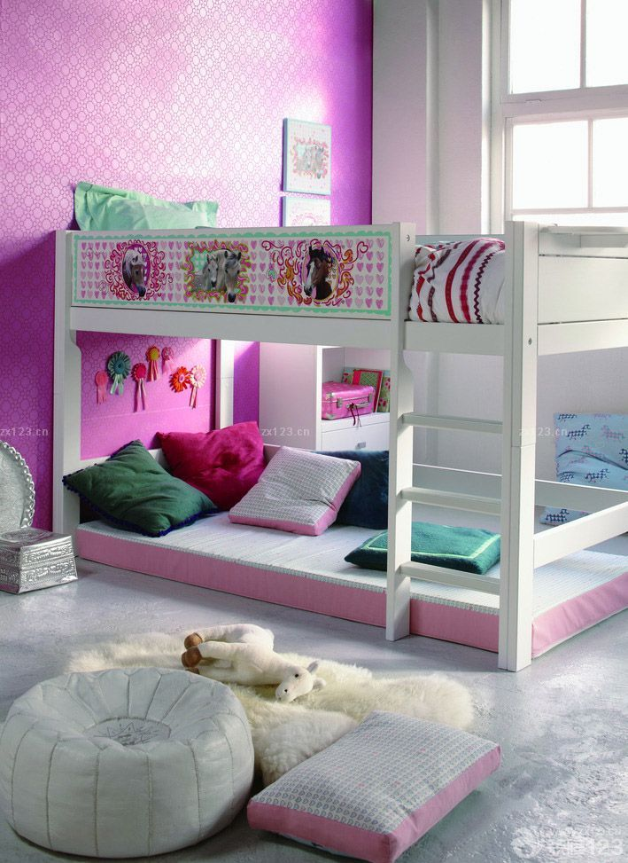 个性儿童卧室双层床图片欣赏