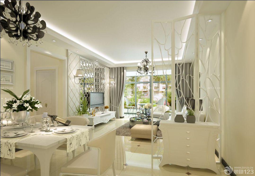 美式餐厅客厅镜面雕花隔断效果装修设计图