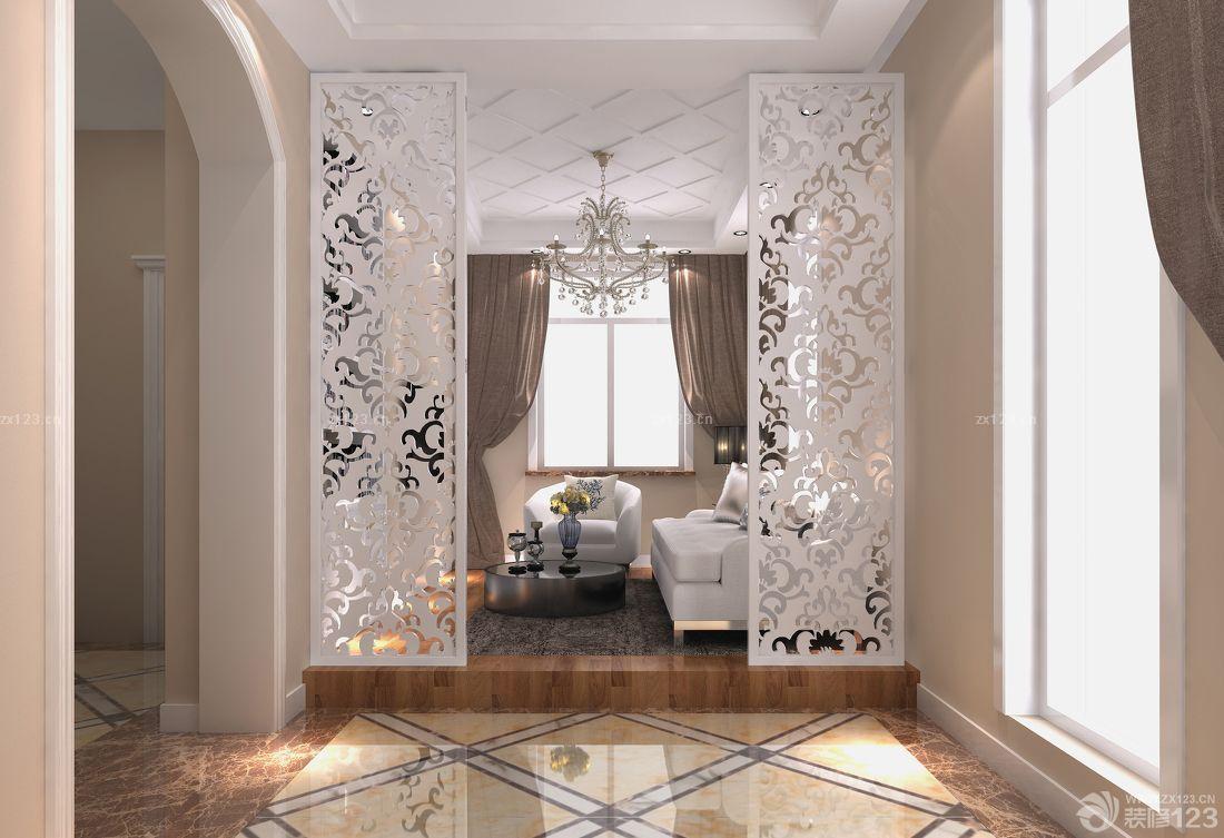 休息室隔断镜面雕花装修效果图