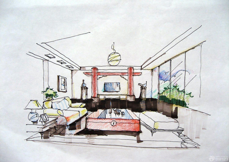 马克笔手绘现代客厅设计图片