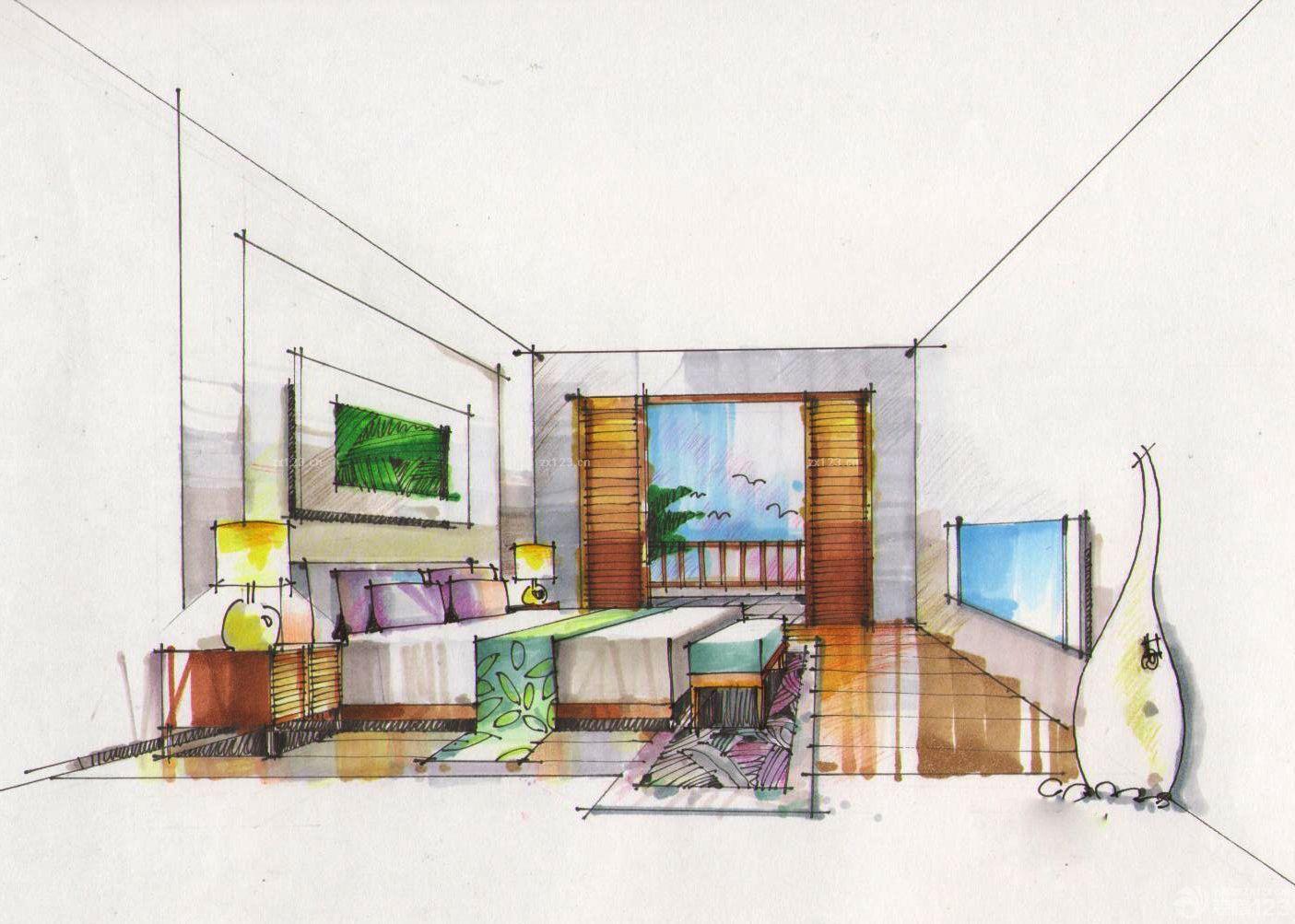 马克笔手绘结婚卧室设计图