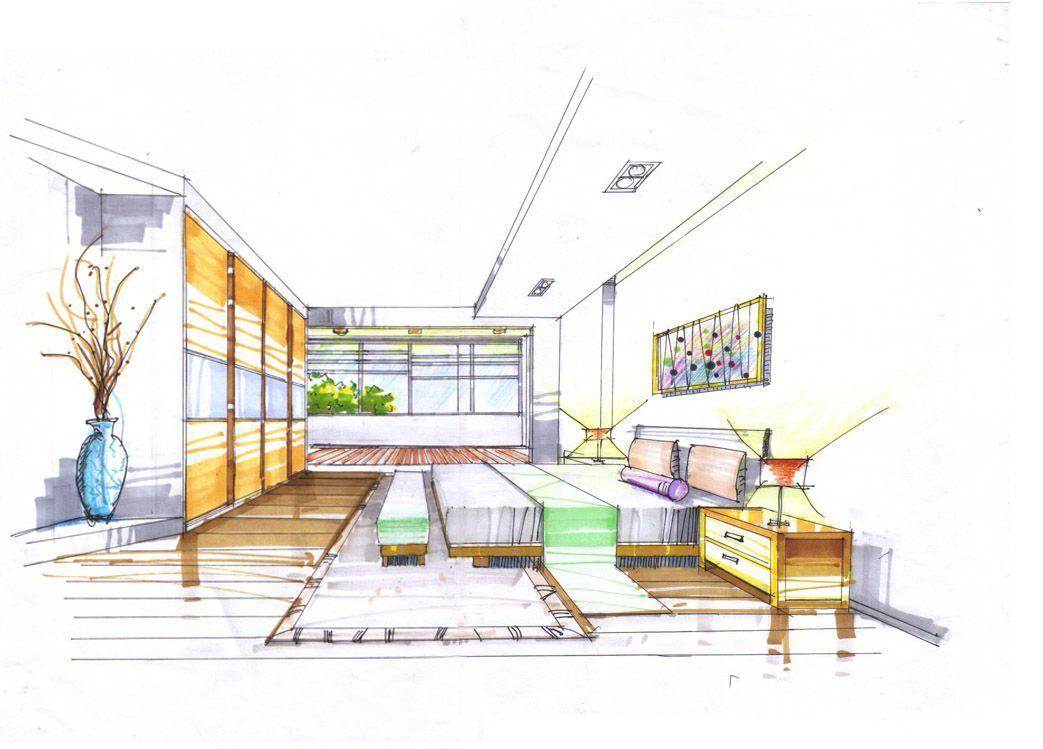 马克笔手绘现代客厅设计图片_装修123效果图