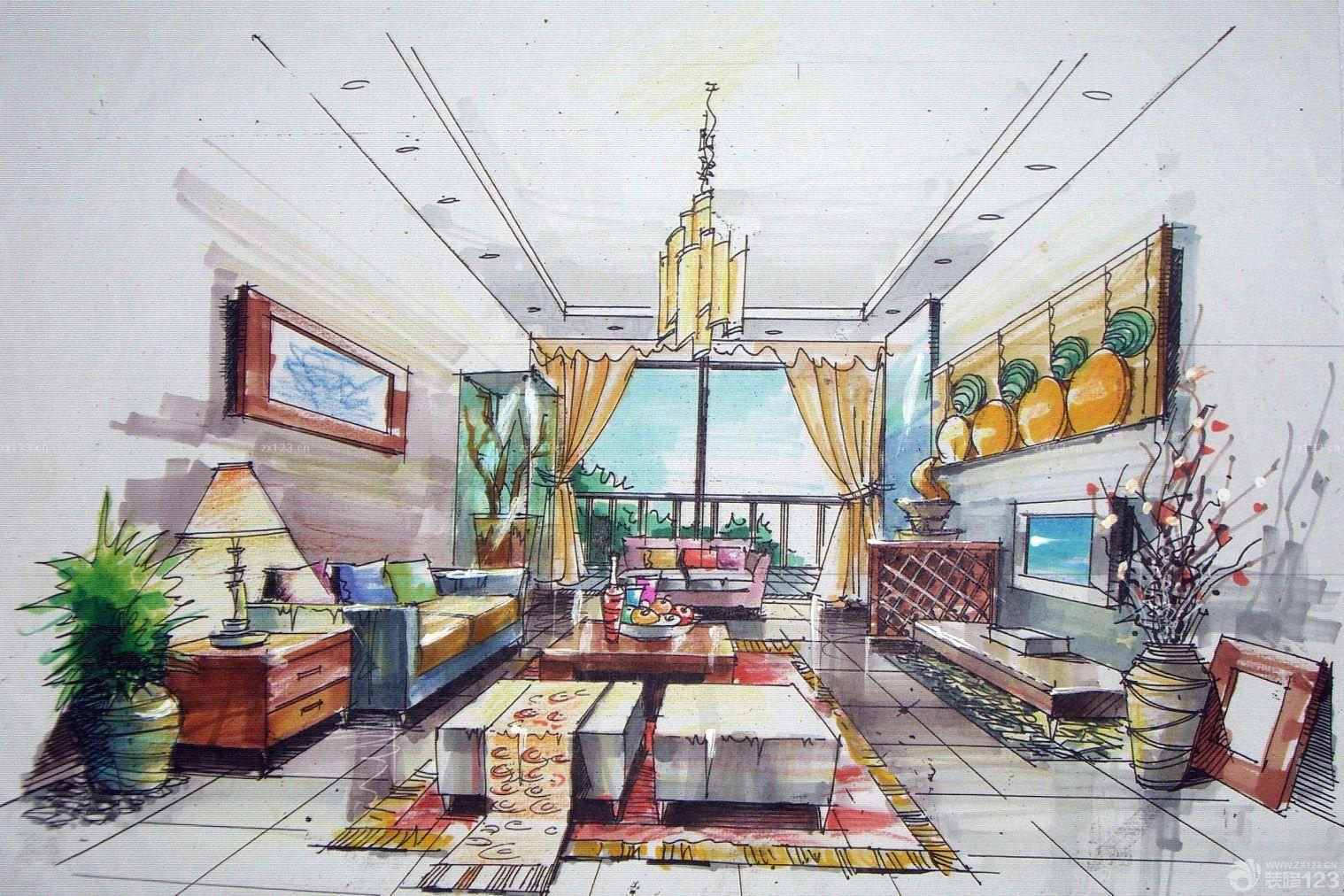 家居客厅马克笔手绘效果图片